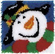 Wonderart Latch Hook Kit 12X12 Happy Snowman