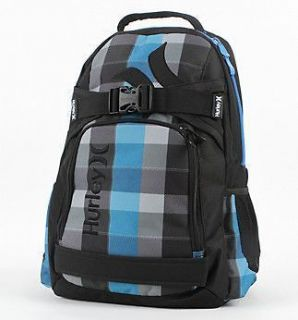 Hurley Honor Roll Backpack Skate Laptop Bag Plaid NEW Blue