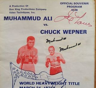 Signed Muhammad Ali vs. Chuck Wepner Program Autographed Joe Louis