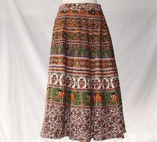 INDIAN SUMMER WRAP AROUND SKIRT DRESS COTTON BROWN GREEN