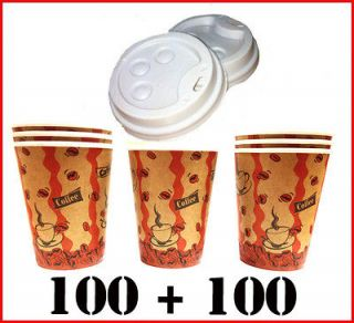 100 Disposable Cafe COFFEE Paper Cups 8oz 250ML+100 LIDS for paper cup