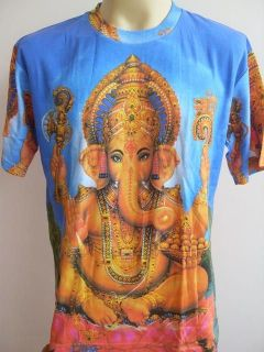 Ganesha Ganesh Meditation Men T Shirt OM Hindu India Blue M L XL