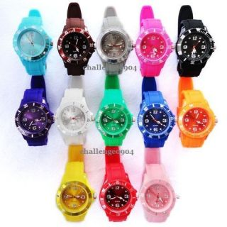Kids Size Colorful ice style Silicone Jelly Wrist Sport Watch