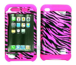 Pink Zebra Print Hard Cover Hybrid 2 in 1 Case For Apple iPod Touch 4