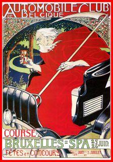 Car club Belgium Bruxelles Concours Vintage Poster Sign Plaque Advert
