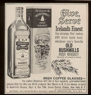 1961 Old Bushmills Irish whiskey bottle & Xmas box ad