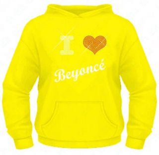 Ladies Diamante / Rhinestone I Love (heart) Beyonce hoodie XS XXL Gift
