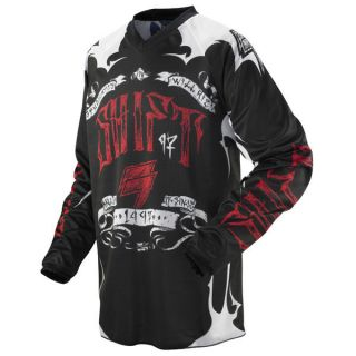 RACING MX ATV RIDING BLACK RED ASSAULT JERSEY SHIRT ENDURO OFFROAD