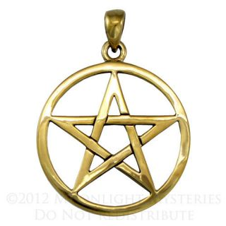 Gold Color Bronze Pentacle Pendant Wiccan Pagan Jewelry