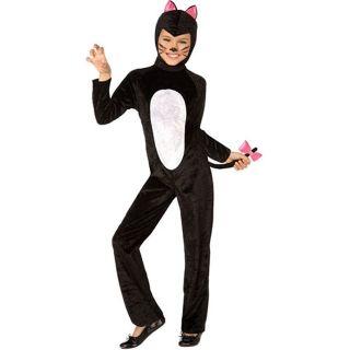 Black Cat Child Costume Girls Kids Dress Up Halloween Kitty Kitten