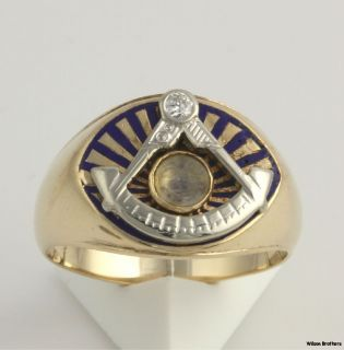 Master Genuine Diamond Moonstone Band   14k Gold Masonic Ring 10+g