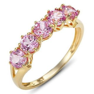 Jewelry Art Pink Sapphire Womans 10KT Yellow Gold Filled Ring Gift