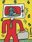 1985 KEITH HARING Business Article Artwork Color Retro Vintage