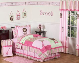 PINK GREEN ANIMAL JUNGLE SAFARI GIRL KID FULL QUEEN SIZE BEDDING SET