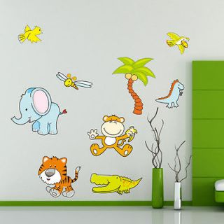 Zoo Animals Jungle Wall Sticker Decor Decals Removable Nursery Kids