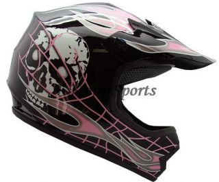 YOUTH KIDS MOTOCROSS MOTORCROSS DIRT BIKE OFF ROAD ATV PINK SKULL