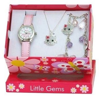 Girls/Childrens/Kids Kitty Cat Hello Watch Necklace Bracelet Gift Set