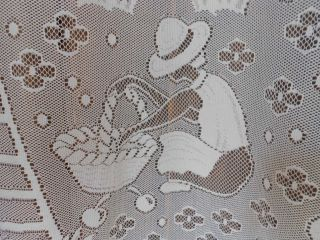 fruit pickers French Vintage, Lace curtain drape window treatment