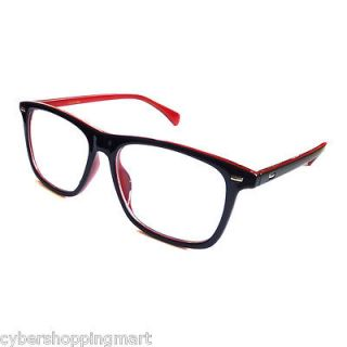 NERD GEEK Large 2 Color Frame Clear Lens Eye Glasses BLACK/RED GLOSSY