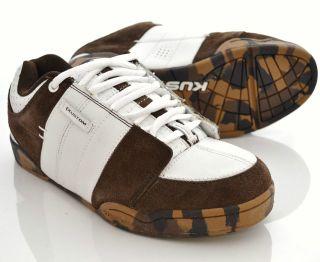 KUSTOM Kontage Leather Shoes Size 9 US 8 UK NEW Mens Brown White Camo