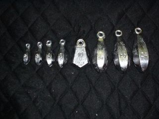 bank sinkers 10 each 1, 2,3,4,5 oz  lead fishing weights from do it