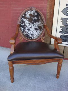 Cowhide Leather Round Back Arm Chair Western Design Tri color Cowhide