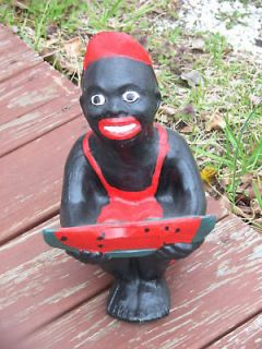 BLACK WATERMELON BOY STATUE (LAWN JOCKEY COUSIN)W.FREE BONUS CONCRETE