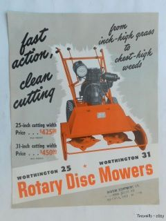 1950s Worthington Rotary Disc Lawn Mowers Catalog Vintage