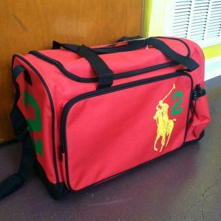 Polo Ralph Lauren Big Pony Weekender Travel Duffle Sports Gym Bag Red