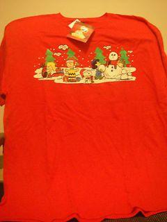 Peanuts Gang Charlie Brown Building A Snowman T Shirt XL (NWT)