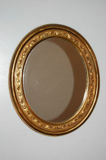 Vintage Gold Tone Syroco Like Vertical/Horizontal Oval Wall Mirror