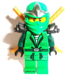 LEGO Ninjago LLOYD ZX Green Ninja miniFigure with 2 golden swords new