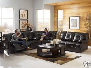 HARPER BLACK BONDED LEATHER POWER RECLINER SOFA COUCH SECTIONAL SET