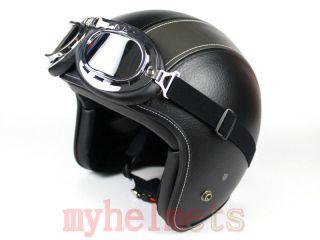 Black/Grey Leather Harley Open Face Helmet Motorcycle Motorbike