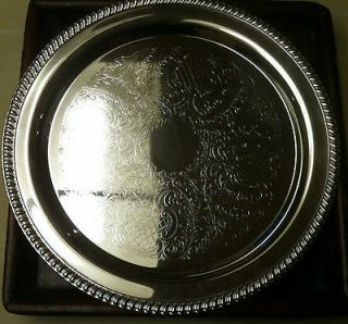 Vintage 15 Leonard Round Repousse Silver Plate Tray Party Platter