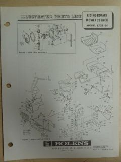 FMC BOLENS LAWN EQUIPMENT RIDING ROTARY MOWER 8526 01 PARTS MANUAL NO