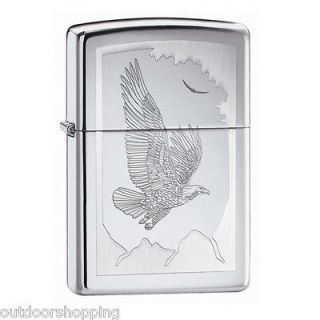 High Polish Chrome Birds Of Prey Zippo Lighter, New