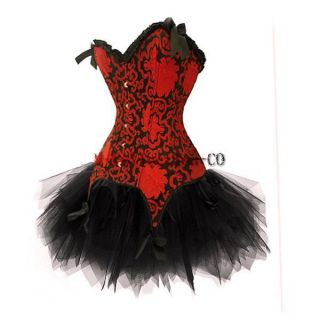 Corset Dress Moulin Rouge Burlesque TUTU Costume Ladies Lingerie S 2XL