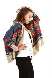 Oversized Tribal Cardigan Sweater in Multi Navajo Print Toggle Button
