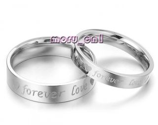 Forever Love Promise Wedding Bands Titanium Couple Ring Set Valentine