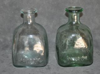 VINTAGE PATRON TEQUILA BOTTLES ONE AQUA ONE GREEN WITH BUBBLES IN