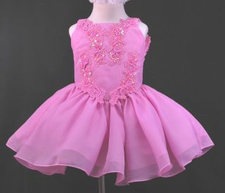 Toddler Girl National Glitz Pageant Chiffon Dress Fuchsia Sz 1 7