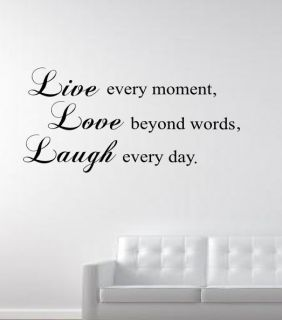 LIVE LOVE LAUGH Wall Art Sticker Mural Decal quote rc 11