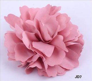 1x Pink Satin Silk peony Flower Wedding Corsage Hair Clips Brooch