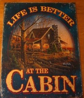 IS BETTER AT THE CABIN Rustic Lodge Primitive Log Home Decor Sign NEW