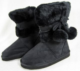 New Lucky Top Brand Girls Black Eskimo Style Boots with Pom Pom