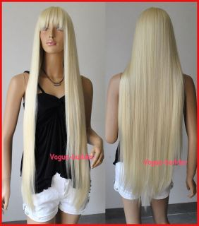 40 Long Blonde Bang Straight Cosplay Party Hair Wig