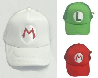 NEW SUPER MARIO LUIGI COSTUME MESH CAP COSPLAY HAT baseball caps