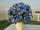 Blue Hydrangea in Cream Pitcher Vase w/ Bling Home Interior Decorating