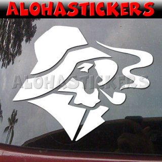 FISHERMAN w/ SMOKING PIPE Car Truck Boat Laptop Vinyl Decal Window